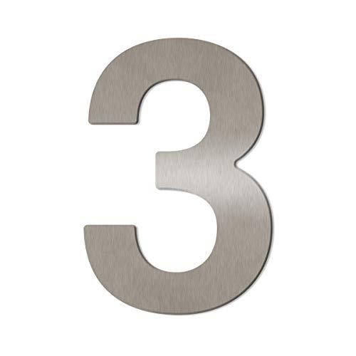 """V4A Edelstahl (fein gebürstet) Hausnummer""""3"""", inkl. Montagematerial/Höhe: 16cm"""