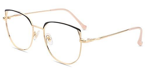 Firmoo Gafas Luz Azul para Mujer Hombre, Gafas Filtro Antifatiga Anti-luz Azul y contra UV400 Ordenador Gaming PC de Gafas Montura de Metal Moda, S1014 Negro Dorado