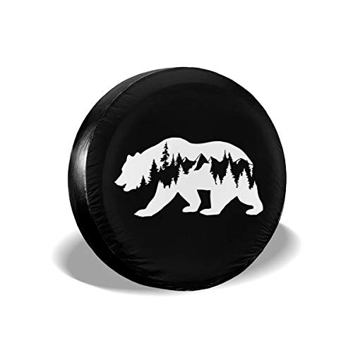 CENSIHER Tire Cover Bear Forest Waterproof Dust-Proof Universal Spare Wheel Tire Cover Fit for Jeep,Trailer, RV, SUV Truck and Many Vehicle Camper Accessories 14 inch