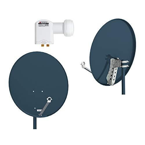 RED OPTICUM Antenna satellitare X80 80 cm, acciaio - antracite, incl.2 morsetti di montaggio su palo + doppio LNB LTP-04H