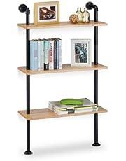 Relaxdays Wandrek Industrie, 3 planken, wandmontage boekenkast, vintage, retro-look, HBT: 112,5 x 60 x 24 cm, natuur