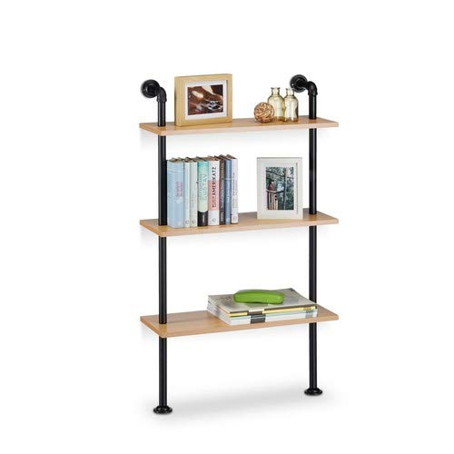 Relaxdays Wandregal Industrie, 3 Ablagen, Wandmontage Bücherregal, Vintage, Retro-Look, HBT: 112,5 x 60 x 24 cm, natur