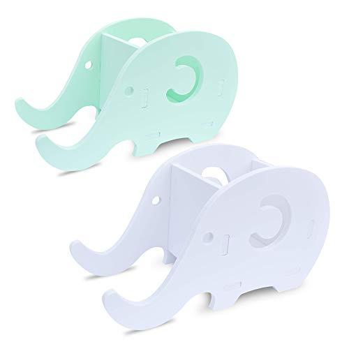 homEdge Soporte para teléfono celular de Elephant, juego de 2 Soporte para soporte de lápices, lápices y lápices, teléfono de Elephant Phone, Organizador de decoración de escritorio-Verde + Blanco