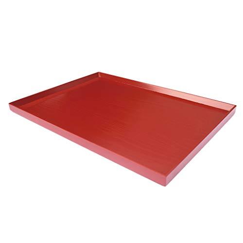 Baoblaze Bandeja de Madera Redonda/Rectangular para Servir Alimentos, Color Rojo - E - 45 * 32 * 2.2cm