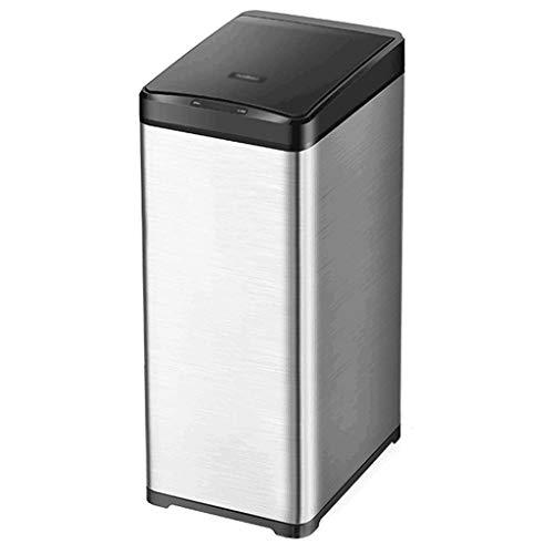 XZJJZ Papelera de cocina para el hogar de gran capacidad con tapa, de acero inoxidable inteligente, bote de basura rectangular de inducción de 50 litros para dormitorio (color: C, tamaño: 40 L)