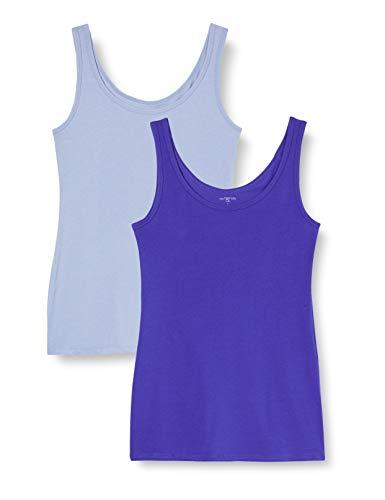 IRIS & LILLY Camiseta de Tirantes de Algodón para Mujer, Pack de 2, 1 x Azul Vaquero & 1 x Azul Brillante, Medium