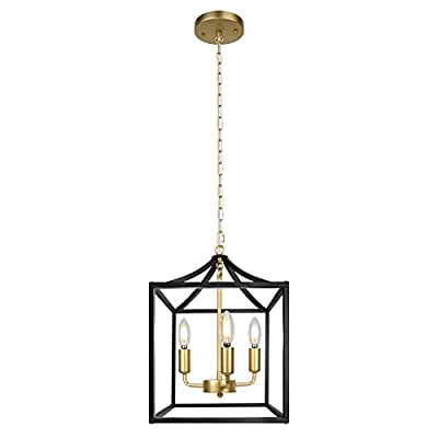 Z-LIGHT 3-Light Chandelier, Modern Lighting Fixture Farmhouse Rustic Pendant Light for Dining Room, Kitchen Island, Hallway (Black)