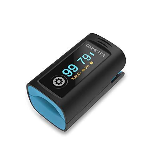 Medidor Saturacion Oxigeno de Dedo para Adultos, Saturometro de oxigeno con Alarma de Niveles Bajos de Sp02 y de Frecuencia Cardíaca, Pantalla OLED