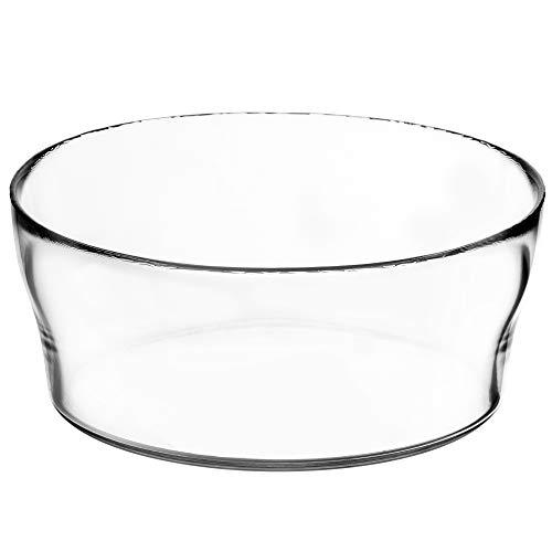 KADAX Glasschale, Salatschüssel, runde Glasschüssel, 19 cm Durchmesser, Tiefe Schale für Obst, Salat, Süßigkeiten, stapelbare Obstschale, große Salatschale, Tischdeko, transparent