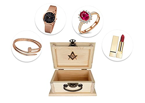 Masonic Wooden Box with Hinged Lid and Front Clasp for Crafts, Art, Hobbies, Jewelry Box and Home Storage – 2.5 x 3.5 x 5.5 Inches