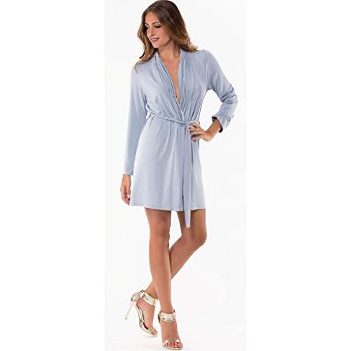 Tessilbianco - Vestaglia da Donna Estiva in Jersey con Collo A Scialle AMALUNA - 2149060 - Azzurro Polvere, 42