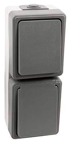 MC POWER - Aufputz Feuchtraum-Kombidose | SECURE | Schalter und Steckdose, vertikal, grau, IP44