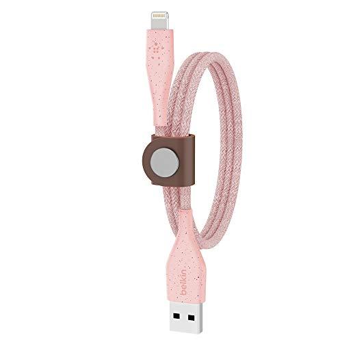 Belkin DuraTek Plus Cable de Lightning a USB-A con Correa (Cable de Carga ultraduro para iPhone, Cable de Lightning a USB, 1.2 m, Rosa)