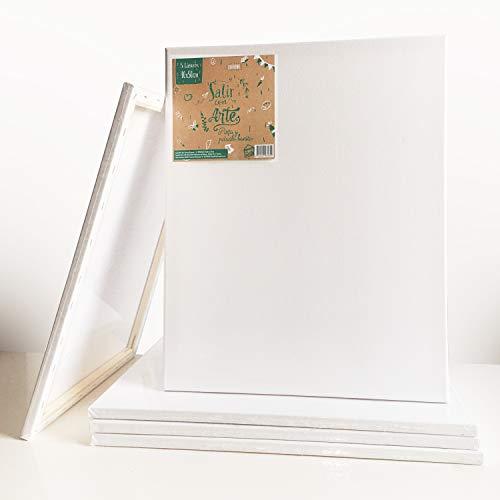 Set de 5 lienzos Salir con Arte 100% de algodón pre-estirado blanco de 40 x 50 cm imprimado para pintar en óleo y acrílico