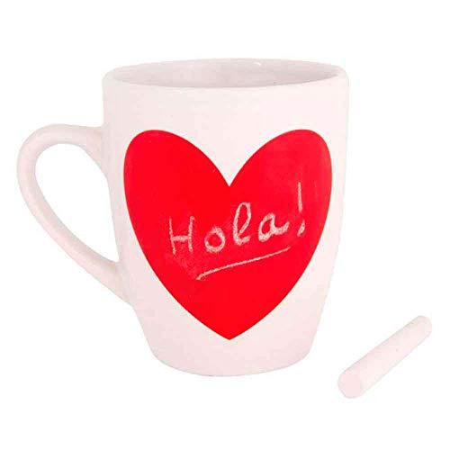 The Collection Taza Desayuno con corazón de Pizarra, Incluye una Tiza para Escribir dedicatorias San Valentín.