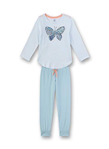 Sanetta Mädchen Pyjama lang Zweiteiliger Schlafanzug, Blau (blau 5632), 98 (Herstellergröße:098)