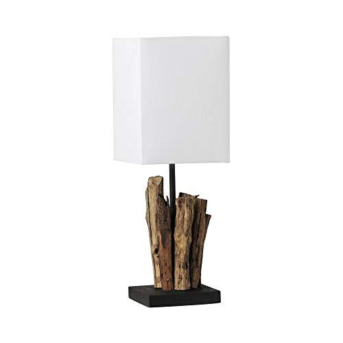 LED Tischlampe, Treibholz-Optik, Innenraumleuchte, Vintage, Baumwolle-Schirm, weiss, E14-Fassung max. 60 Watt