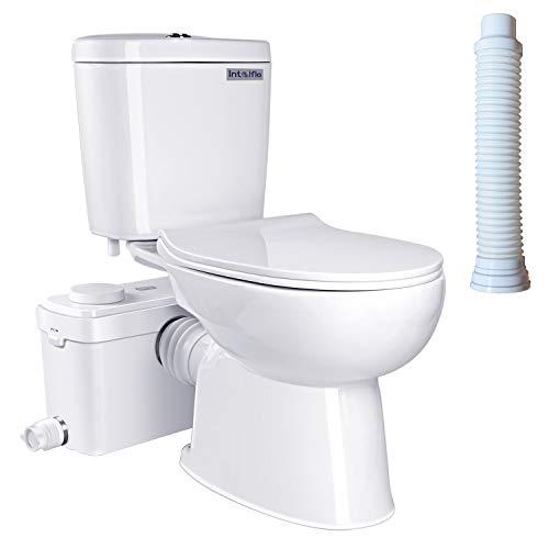 600 watt Macerating Toilet, Upflush Toilet System for Basemnet Toilet Kit Included 600 Watt Macerator Pump, Water Tank, Soft Closing Toilet Seat