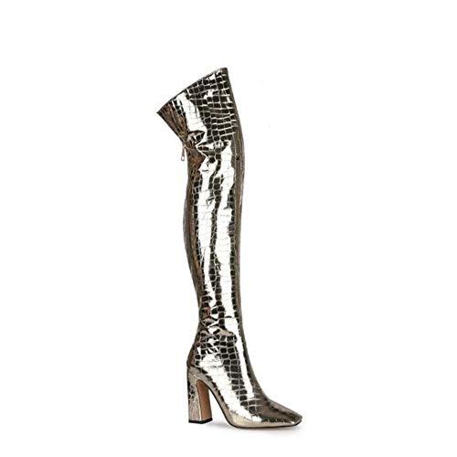 ZHIFENGLIU Stiefel Frauen, Damen Overknee-Stiefel, Vierkantkopf Dick High Heels Damenschuhe Größe,45