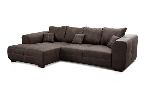 Cavadore Ecksofa Mavericco / XXL Eckcouch Inkl. Rückenkissen und Zierkissen / Longchair links / Industrial Style / 285 x 69 x 170 (BxHxT) / Mikrofaser Anthrazit