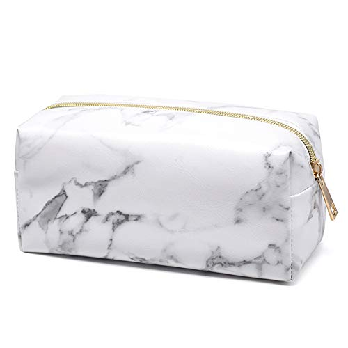 Peicees White Marble Cosmetic Makeup Bag, Toiletry Bag Organizer Storage Pouch Travel Train Case with Gold Zipper for Women Ladies Teen Girls