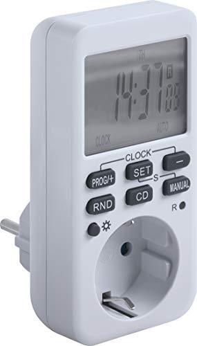 Meister Zeitschaltuhr digital, 3600 W - Sommer- & Winterzeit - 10 konfigurierbare Programme - Mit Countdown-Funktion & Zufallsgenerator / Timer für die Steckdose / Timer mit Zufallsschaltung / 7474090