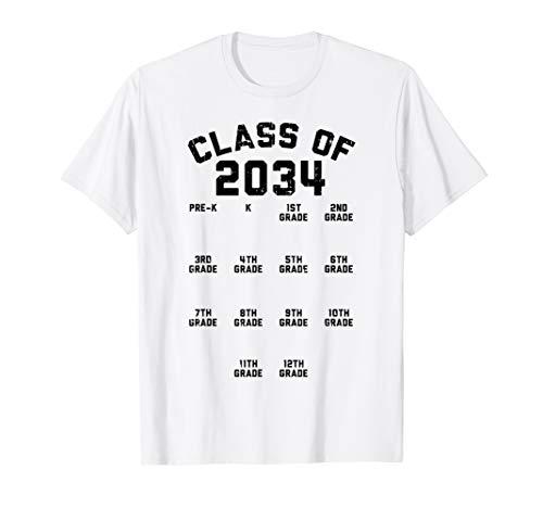 Class Of 2034 Grade Pre-K Grow With Me Handprint Gift T-Shirt