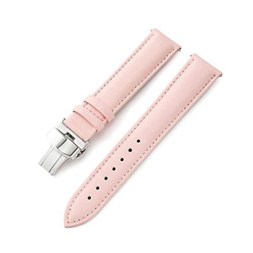 Reloj de la Banda de Cuero Genuino Correas 12mm-24mm Correa de la Mariposa de Cierre Banda Accesorios Reloj, 20mm
