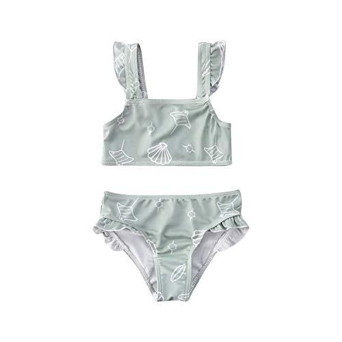 Fepege Toddler Baby Girls Bikini Set Ruffle Halter Tops and Bikini Bottom Bathing Suits Swimsuit (Lake Green, 6-12M)