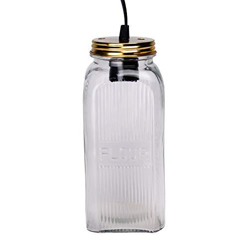 Pendelleuchte Jar Deckenleuchte Deckenlampe Vintage Ball Lampe Einmachglas Weckglas Mason Hängeleuchte (Klar (Flour))