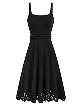 Womens Scalloped Hem Stretchy Aline Dress Stretchy Scoop Neck Ruched Dress Black