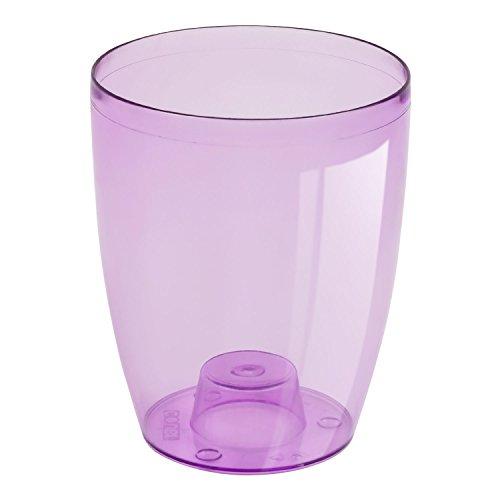Porta-vaso per orchidee alto 18,5 cm, di forma cubica, in materiale trasparente con bordi viola
