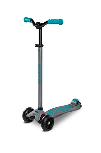 Micro Kickboard – Maxi Deluxe Pro Kick Scooter – Leichtgängiger, 3 Räder, Lean-to-Steer Scooter mit breiten, stabilen Rädern und Chopper-Style, höhenverstellbarer Lenker von 5-12 Jahren (Grau/Aqua)