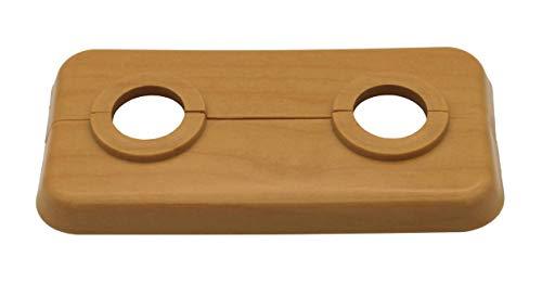 3 STÜCK Doppel-Rosette für Heizungsrohre, Abdeckung, Heizung, Heizkörper, 2-teilig, 12mm bis 18mm, für Laminat und Parkett, PP mit Holz-Dekor: Ahorn, Buche, Eiche (18mm, Ahorn - Dekor)