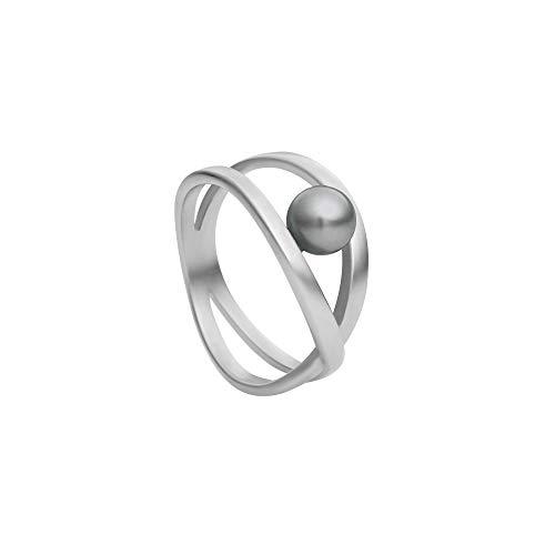 Heideman Ring Damen aus Edelstahl Silber farbend matt Damenring für Frauen mit Swarovski Perle schwarz rund 6mm