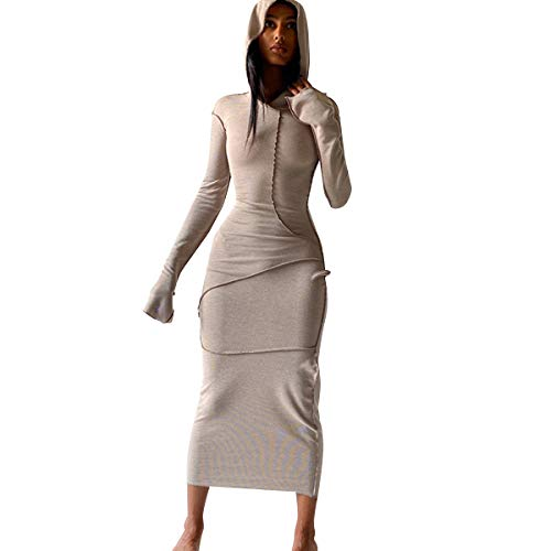 LuFeng Women's Sexy Long Sleeve Bodycon Solid Hoodie Patchwork High Waist Long Dress Coffee
