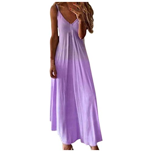 BALABA❥Women's Summer Fashion Sexy V Neck Loose Plus Size Gradient Color Sleeveless Long Dress Bohemian Camisole Dress Purple