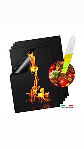 Tappetino da Barbecue BBQ Mat Cottura Set 5 Riutilizzabile Antiaderente in Teflon, Resistenti Alte Temperature Griglia a Gas Carbone Forno Griglia Elettrica Approvati da LFGB & FDA Spazzola Inclusa