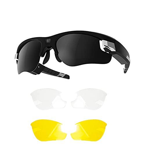 Ishine Gafas para cámara HD 1080P Smart Gafas de sol portátiles para deportes al aire libre, conducción, equitación, pesca, motocicleta (máximo 256 GB)