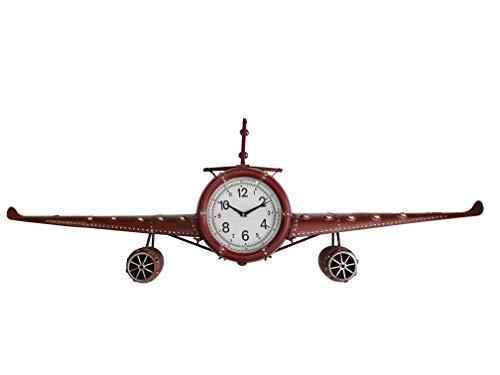 DynaSun Art Jumbo 143 x 20 x 46 cm Reloj en Forma de avión de Pared de Metal Vintage Estilo Retro decoración casa salón Cocina Efecto Envejecido