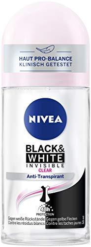 NIVEA Invisible for Black & White Deo Roll-On, 48h Antitranspirant Roller verhindert Deo-Flecken mit antibakteriellem Schutz, 50ml