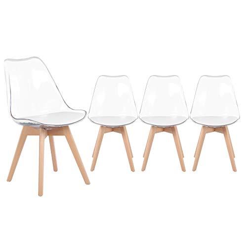 EGGREE Lot de 4 Chaise Transparente Scandinave pour Salle a Manger, Chaise Ghost avec Coussin en Blanc Cuir PU et Pieds de Hêtre