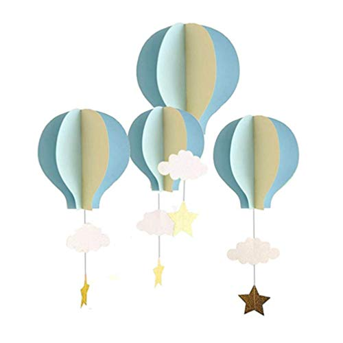 TOYANDONA 3D Paper Hot Air Balloons Hanging Air Balloon Clouds Stars Air Balloon Decoration for Birthday Wedding Baby Shower 4Pcs
