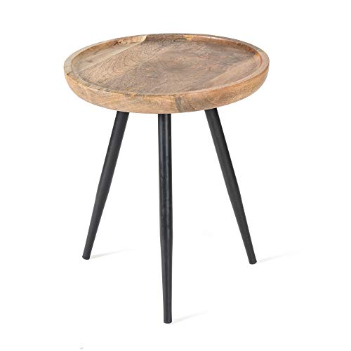 MH London Side Table - Minimalist, Scandinavian - Handmade, Maintenance Free, Real Wood and Iron - for Living & Dining Rooms - Easy Assembly, 18' x 16' x 18' - Chevery, Natural