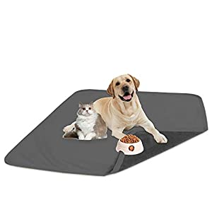 fuguitex Waterproof Dog Bed Cover Dog Pee Pad Dog Mat Dog Rug Carpet Washable Resuable Crystal Velvet Puppy Pad for Training 2 Pieces(30″ 30″,Light Grey+Grey)