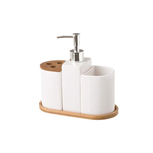 Juego de Baño de 3 Piezas, realizado en Cerámica y Bambú, de Color Blanco. Diseño Limpio, con...