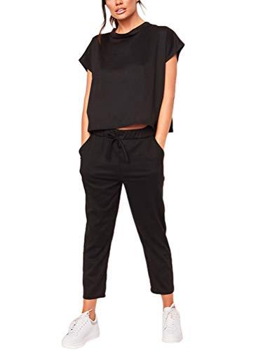 Minetom Damen 2 Stücke Sets Outfit Sport Yoga Fitness Lose Jogginganzug mit Kordelzug Beiläufig T-Shirt Top und 7/8 Länge Hose 01 Schwarz DE 34