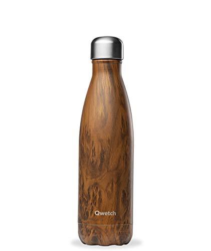 QWETCH - Bouteille Isotherme INOX 500ml - Maintient Vos Boissons au Chaud Pendant 12 Heures & au Frais Pendant 24 Heures – BPA Free - Wood Brun