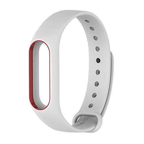SUNKAK Inteligente Pulsera De Silicona Pulseras De Reloj, For Mi Banda M2 3 4 Sustitución Pulsera De Goma Accesorios Deportes (Band Color : White Red)