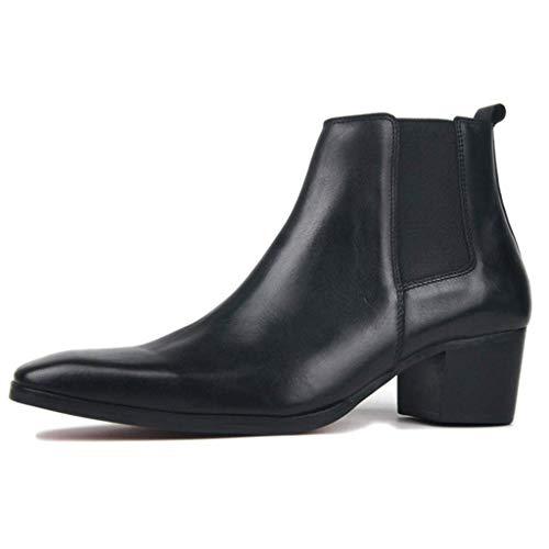YKJL Bota de Cuero de Alta Ayuda para Hombre Tobillo Bota de Vaquero Occidental Martin Zapato de Boda Elegante Casual Elegante Zapato de tacón cubano-44.5 Negro